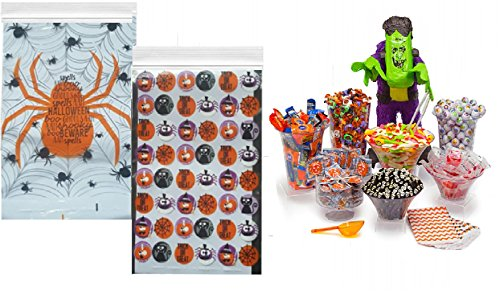 Halloween Candy Bags - 80 Count Zipper Seal Treat Bag Favors