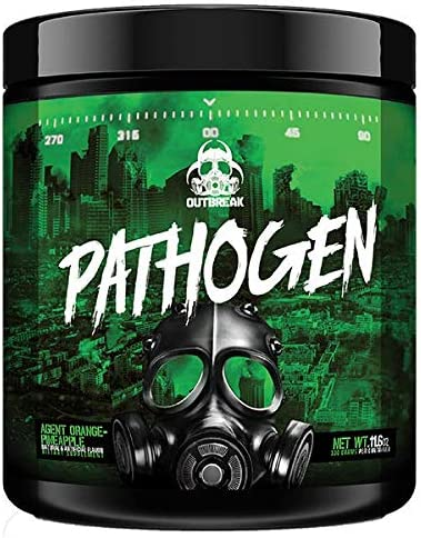 Pathogen Pre Workout – Energy Boosting Preworkout Powder, Energy Inducing Stimulants and Muscle Pump Evoking Compounds, Agent Orange-Pineapple, 336g