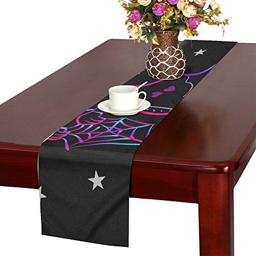 QYUESHANG Ghost Spirit Spooky Haunt Halloween Table Runner, Kitchen Dining Table Runner 16 X 72 Inch For Dinner Parties, Events, Decor