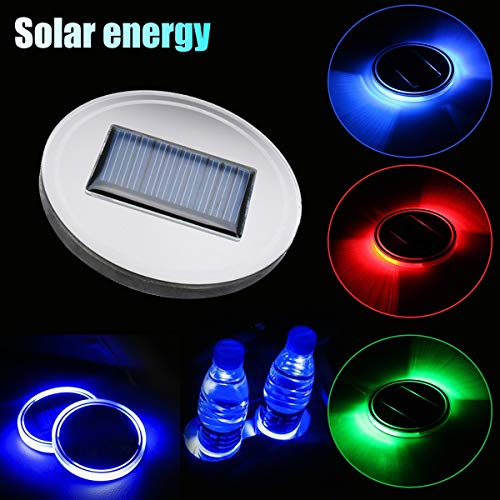 Best Quality - Anti-Slip Mat - 6.8cm Red Green Blue Solar LED Cup Holder Bottom Pad Mat LED Light Trim for All Cars Models - by VietRattan - 1 PCs