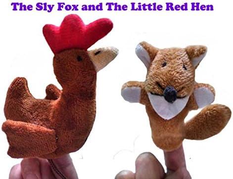 [해외]Polymer Easy to Carry The Sly Fox and The Little Red Hen 2 Pcs Finger Puppets Set Soft Toy for Kids / Polymer Easy to Carry The Sly Fox and The Little Red Hen 2 Pcs Finger Puppets Set Soft Toy for Kids