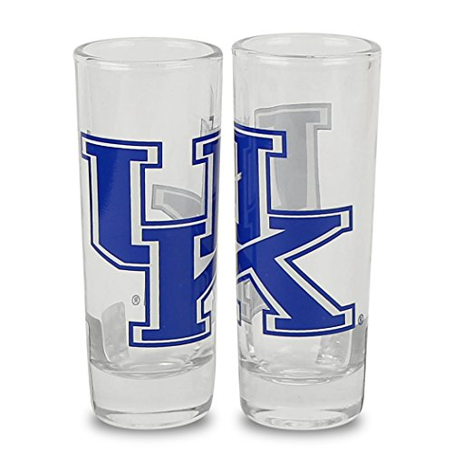 NCAA Color Team Logo 2oz Cordial Shot Glass 2-Pack (Kentucky ()