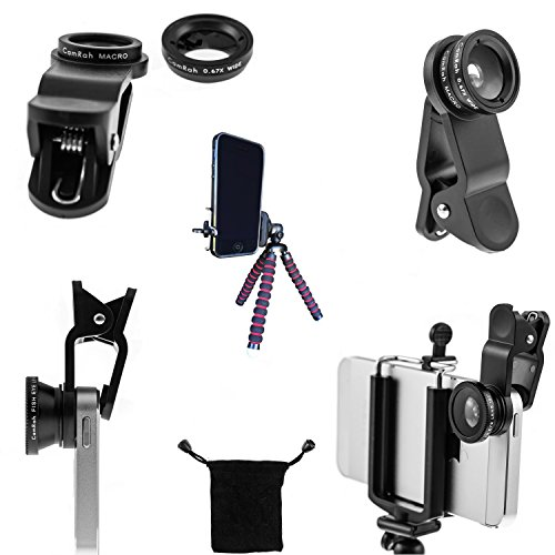 CamRah iPhone Camera Lens Kit with 3 Universal Lenses, Fisheye Wide Angle and Macro, 2 Lens Clips, Octopus Tripod
