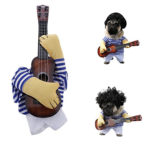 Elibeauty Dog Costume, Festival Parties Christmas Pet Guitar Costume Dogs Cats Super Funny Crazy Guitarist Style Clothes Cosplay Party Funny Outfit Clothes M