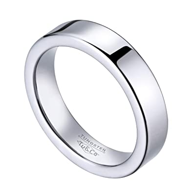 Tungsten Wedding Band Ring 7mm wide for Men Women Polished Flat Top Profile Comfort Fit inside edges Lifetime Satisfaction
