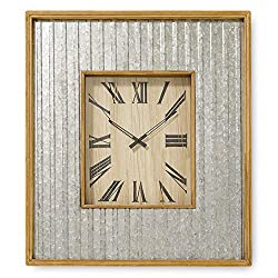 Whole House Worlds The Farmer's Market Over Sized Galvanized Metal Wall Clock, Quartz Movement, Glass, Metal and Wood, Over 2 1/2 Ft Tall, 1 AA Battery Required