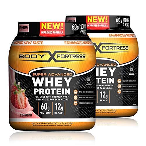Body Fortress Super Advanced Whey Protein Powder, Gluten Free, Strawberry, 32 Oz, Pack of 2
