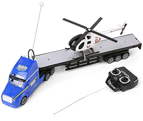 SumacLife Kid's Full Function R/C Remote Controlled Blue Big Rig Tractor Trailer Hauler Flat Bed Truck Toy with Black and White Helicopter Chopper