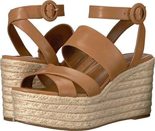 (Nine West Women's Kushala Leather Wedge Sandal, Dark Natural Leather, 7.5 Medium US)