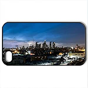 A Night In Los Angeles - Case Cover for iPhone 4 and 4s (Skyscrapers Series, Watercolor style, Black) by lolosakes