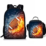 Fire Football Pattern Kids 2 Pieces Backpack Set School Bookbag + Lunch Bag Lunchbox