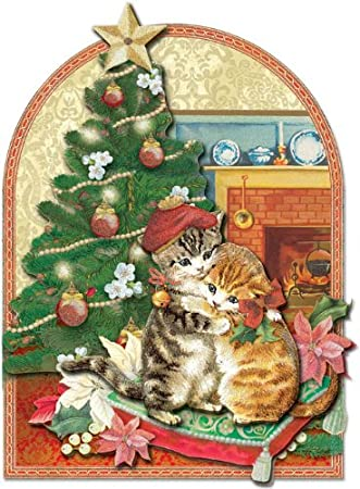 Amazon punch studio christmas dimensional greeting cards punch studio christmas dimensional greeting cards hugging kitty cats with glitter embellishment set of m4hsunfo