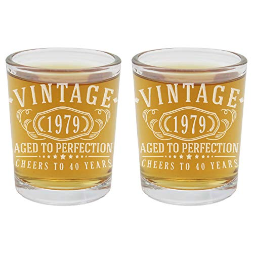 2pk 40th Birthday Etched 2.5oz Shot Glasses - Vintage 1979 Aged to Perfection - 40 years old gifts