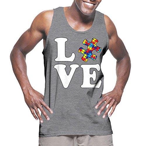 Men's Love Autism Awareness Tank Top (Light Gray, XXX-Large) Awareness Tank