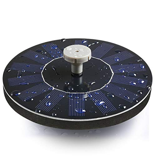 ADDTOP Solar Fountain, Solar Powered Bird Bath Fountain Pump Floating Solar Water Pump Kit Fountains for Garden, Pond, Pool, Fish Tank, Aquarium - Upgraded 8 Nozzles