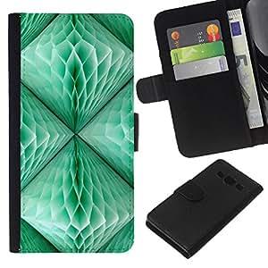 WINCASE Cuadro Funda Voltear Cuero Ranura Tarjetas TPU Carcasas Protectora Cover Case Para Samsung Galaxy A3 - cerceta linterna verde 3d arte polígono