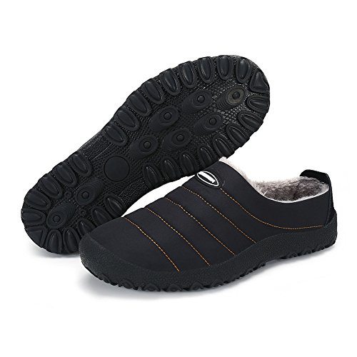 Men Women House Slippers Warm Non-slip Winter Indoor Outdoor Slippers with Soft Fluff Lined,Black,6.5US-women/5US-men=EU/FR 37