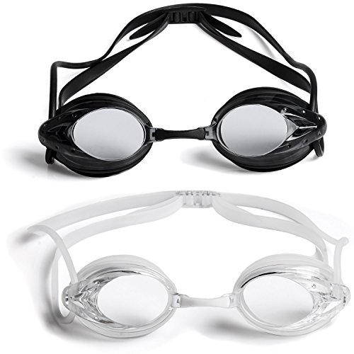 a55da4b929 The Friendly Swede 2 Pack Swim Goggles for Adults with Interchangeable Nose  Pieces and Protective Cases
