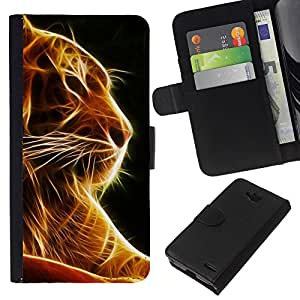 KingStore / Leather Etui en cuir / LG OPTIMUS L90 / Tigre Negro Naranja Fuego Animal Felino