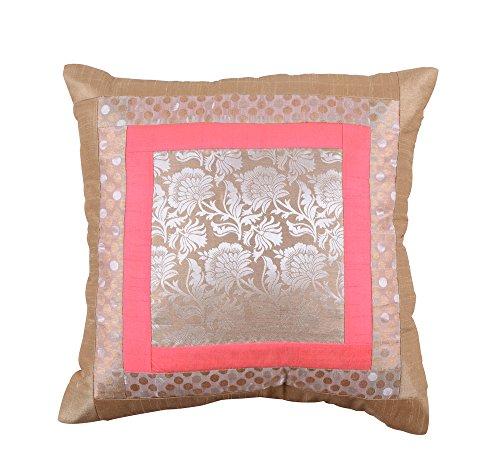 meSleep Brocade Dupion Silk Cushion Covers Weaving work Zipper Sofa Throw Pillow Case Interior Gift Item (Silk Cushion Dupion)