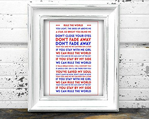 Riks Emporium Rule The World By Take That A4 Lyrics Poster Amazoncouk Kitchen Home