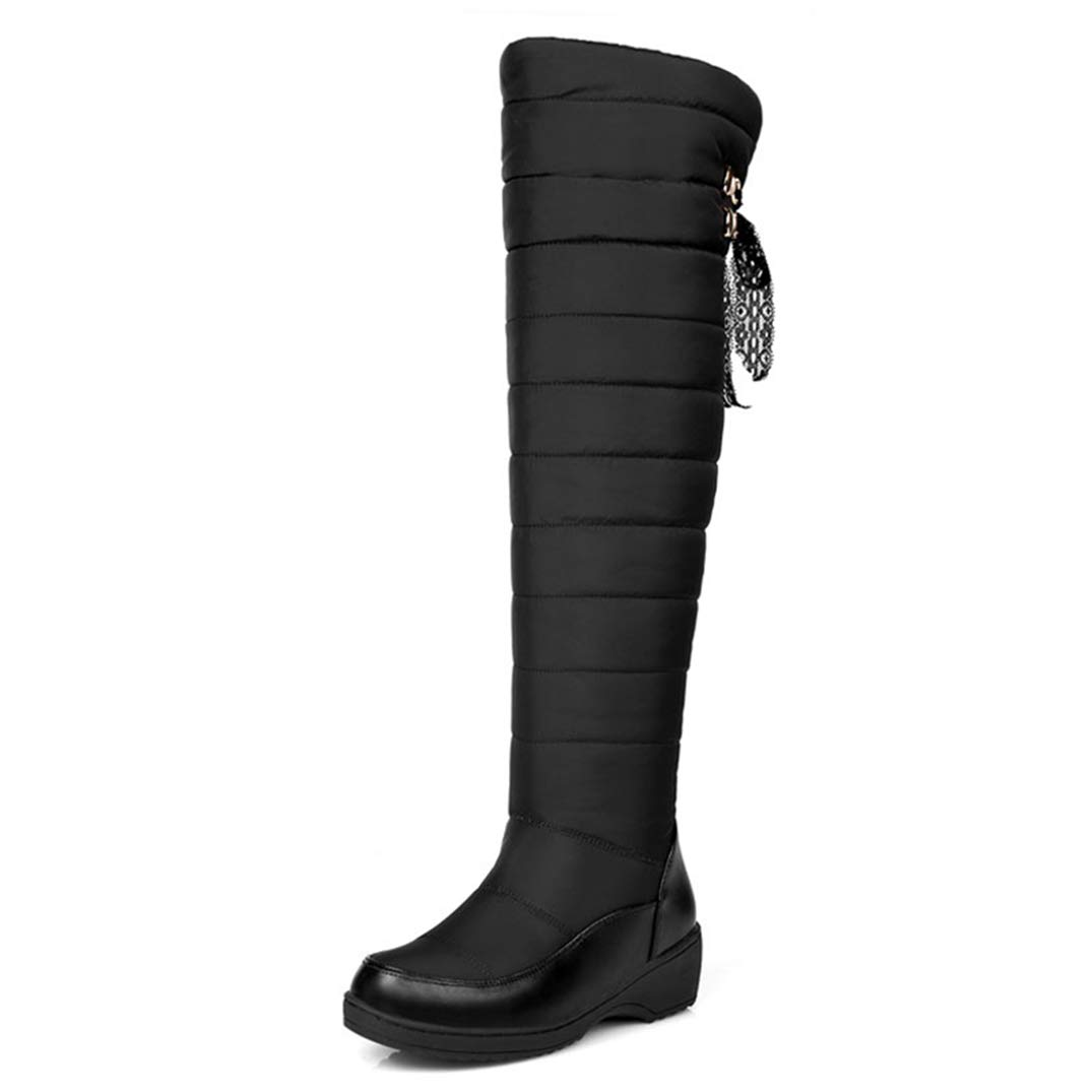 Black GEORPE Over The Knee Boots Down Winter Snow Women Thigh High Boot Flat Platform Boots