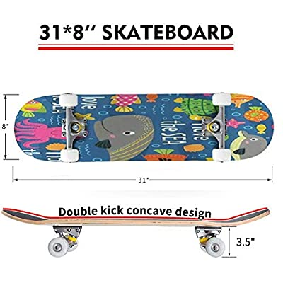 Classic Concave Skateboard Seamless Pattern Under The sea Vector Illustration eps Longboard Maple Deck Extreme Sports and Outdoors Double Kick Trick for Beginners and Professionals : Sports & Outdoors