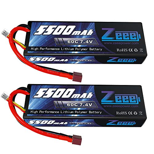 Hard Case Battery - Zeee 5500mAh 7.4V 60C 2S Hard case LiPo Battery Packs with Deans T Plug Connector for RC 1/8 1/10 Scale Vehicles Car,Trucks,Boats (2 Pack)