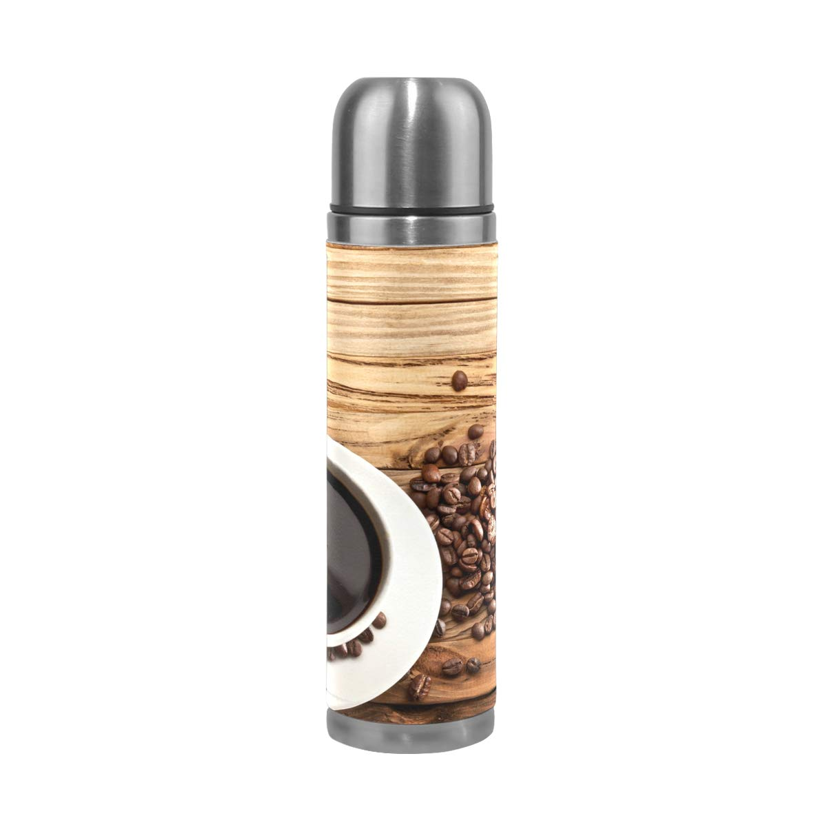 Coffee Wood Cup Food Drink 500ML Stainless Steel Double Walled vacuum insulated water bottle Travel Mug Leather Cover Thermos 17 oz