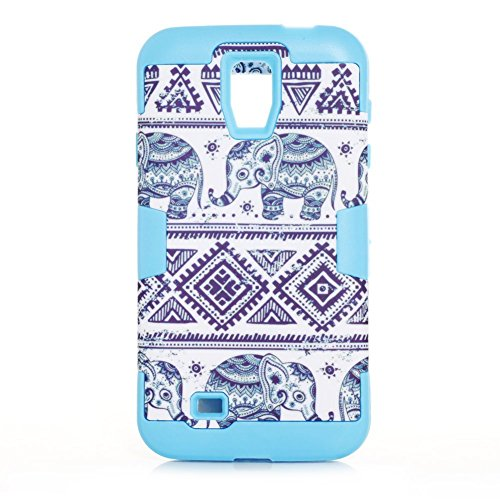 VKKING(TM) Thailand Elephant Tribe Hybrid High Impact Resistance Case Rubberized Silicone Cover Case for Samsung Galaxy S4,With Screen Protector,Stylus and Cleaning Cloth KKDX Blue
