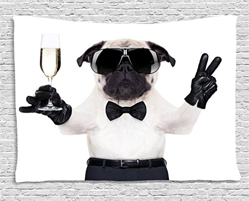 - Ambesonne Pug Tapestry, Pug with Champagne Glass and Peace Sign Cool Looking Dog Celebration Animal, Wall Hanging for Bedroom Living Room Dorm, 60 W X 40 L Inches, White and Black
