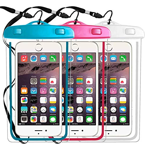 "3 Pack IPX8 Universal Waterproof Case Compatible with iPhone X XS MAX XR/8/8plus 7/6plus,Galaxy S9 s8/s8plus/s7 Smartphone Diagonal to 6"",Water Parks/Beach/Cruise/Pools Snorkeling-Whie+Pink+Blue"