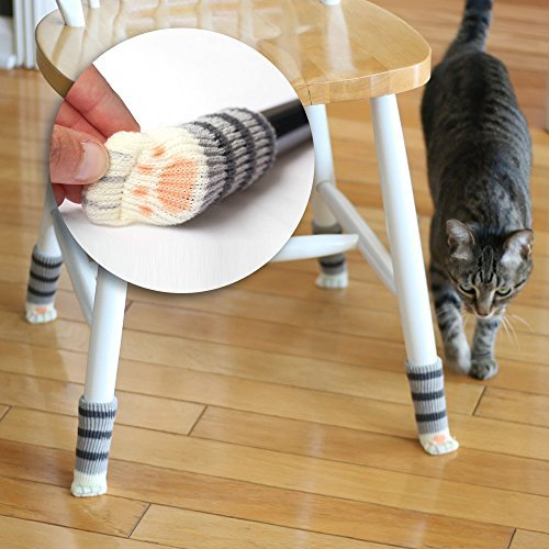 16 Chair Socks with Cat Paw Design - The Originals in Black & White! Cute Floor Savers that Protect Hardwood from Scratches and Reduce Noise. A Purrrfect Gift for Cat Lovers.