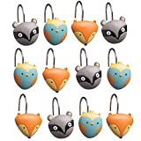 Set of 12 Forest Friends Shower Curtain Hooks Decorative Chrome Rings Kids Bath