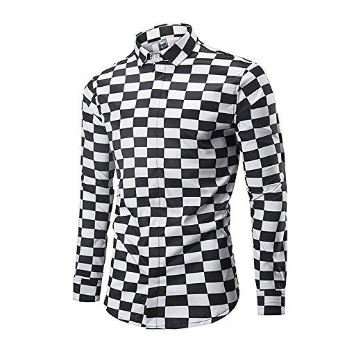 Wrinkle Free Casual 3D Print Long Sleeve Button Down Shirt UGGKA US Mens Shirts