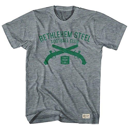 fan products of Bethlehem Steel Soccer Club Pistols T-shirt, Athletic Grey, 2X Large