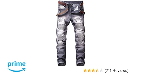 d01c8a24 YTD Mens Distressed Ripped Biker Slim Jeans Stretched Moto Denim Pants at  Amazon Men's Clothing store: