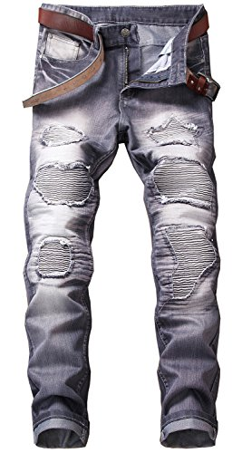 Denim Biker - YTD Mens Distressed Ripped Biker Slim Jeans Stretched Moto Denim Pants (W34(Tag 36), Dark Gray)