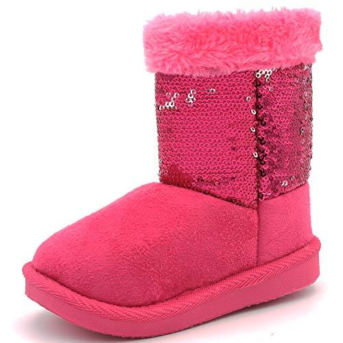 Toddler Baby Girl Winter Warm Flat Boots Sequin Anti-Slip Zipper Faux-Fur Lining (8 M US Toddler, Fuchsia) -