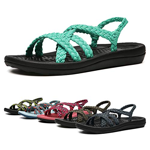 EAST LANDER Women's Comfortable Flat Walking Sandals with Arch Support Waterproof for Walking/Hiking/Travel/Wedding/Water Spot/Beach. 19ZDEA02-W15-11 Turquoise