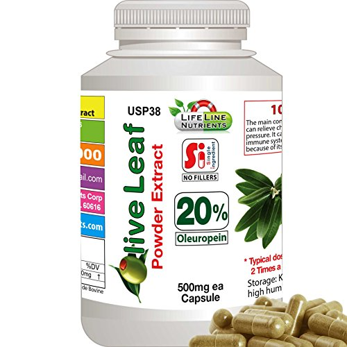 Olive Leaf Powder Extract, 20% Oleuropein - Free Shipping, 480 Capsules x 450mg by Lifeline Nutrients