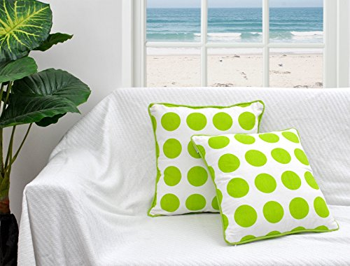 Border Bold Big (16 X 16 Inch Set of 2 Throw Pillow Covers for Couch Green Bold Polka Dot Printed on White Base Canvas Cushion Cases for Sofa with Matching Piping Border Made of 100% Cotton Fabric Bed Pillows (Green))