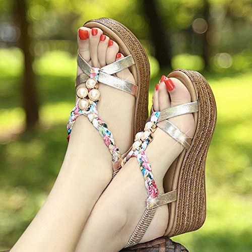 Eté Shukun Gold Plage Plate Talons Hauts Wind Mot Compensées Femmes National Floral De Chaussures Sandales Épaisse forme À Avec rqCwpxrF