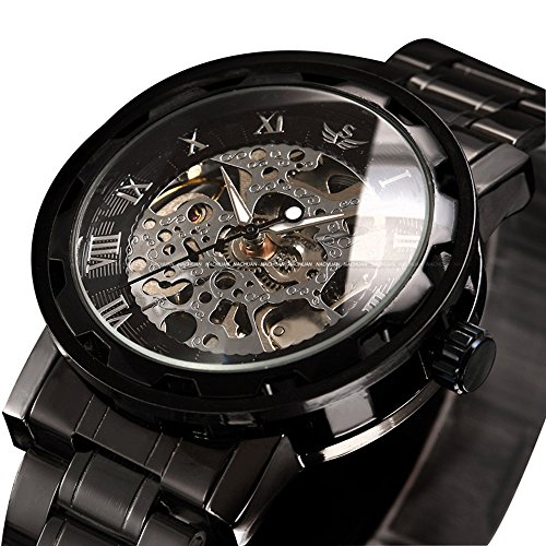 ALPS Mens Watch Luxury Skeleton Black Stainless Steel Mechnical Hand Wind Dress - Luxury Watch Steel