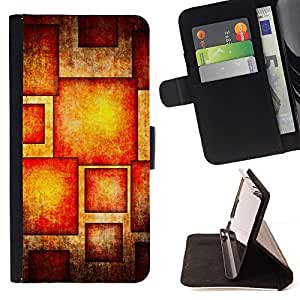 For HTC DESIRE 816 Case , Patrón Sol Rojo Naranja- la tarjeta de Crédito Slots PU Funda de cuero Monedero caso cubierta de piel
