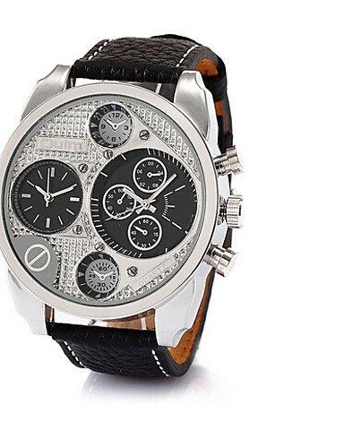 Doble bolillos SHILU Relojes correa de acero de anuncios Oulm de cuarzo de los hombres: Amazon.es: Relojes