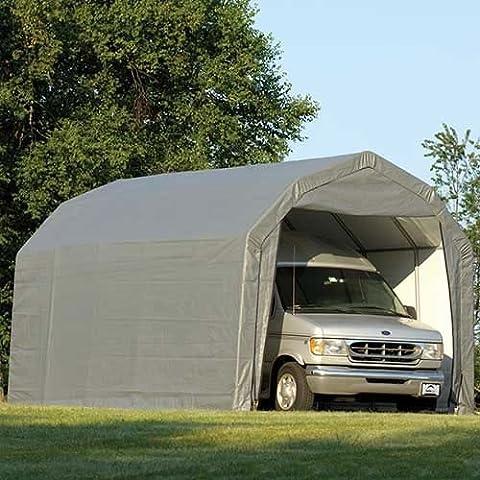 ShelterLogic 12Ft.W Homestead Barn Style Garage - 24ft.L x 12ft.W x 11ft.H, Gray, Model# 90153 - Heavy Duty Steel Tubing