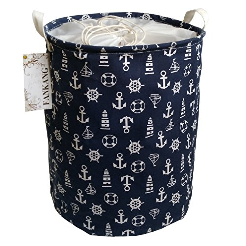 FANKANG Storage Bins, Nursery Hamper Canvas Laundry Basket Foldable with Waterproof PE Coating Large Storage Baskets for Kids Boys and Girls, Office, Bedroom, Clothes,Toys (Navy Anchor)