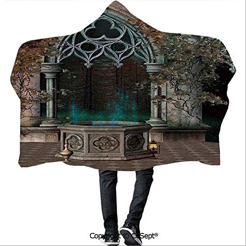 AmaUncle Wearable Hooded Blanket,Mystical Patio with Enchanted Wishing Well Ivy on Antique Gateway to Magical Forest,for Adults and Children(59.05x51.18 inch),Grey Teal