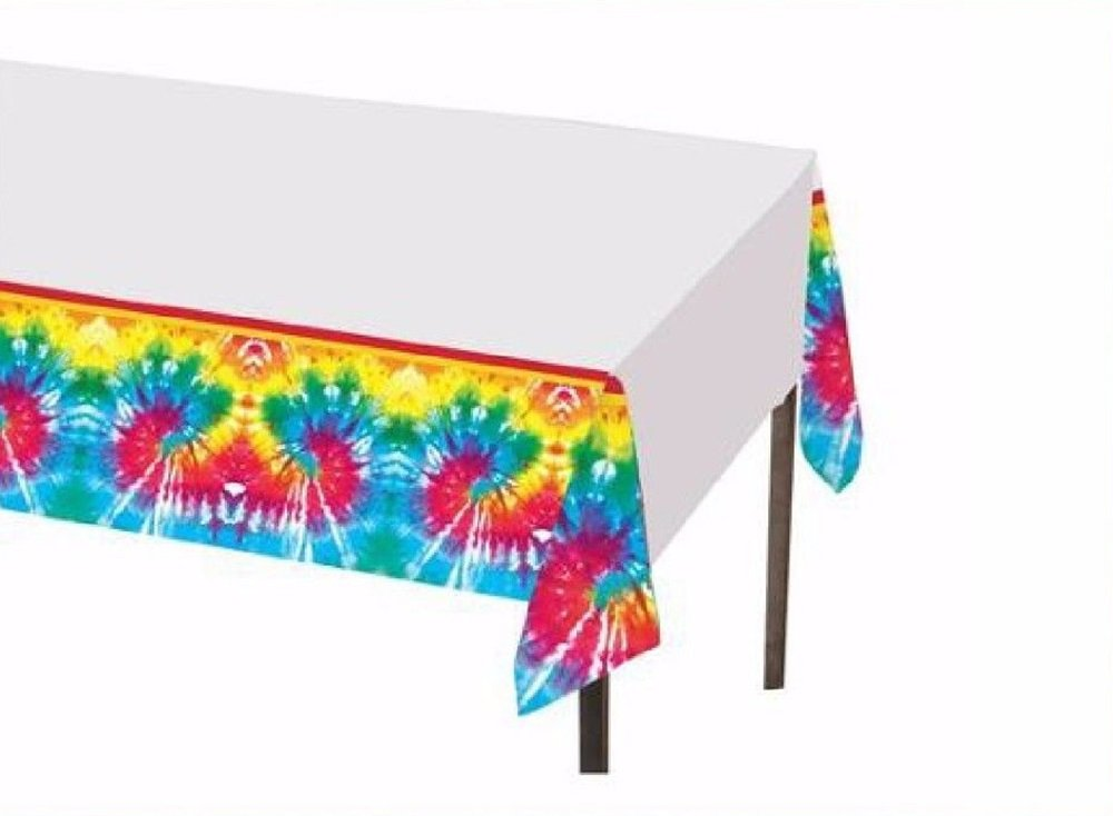 54 x 84 Colorful Tie Dye Plastic Birthday Party Table Cover